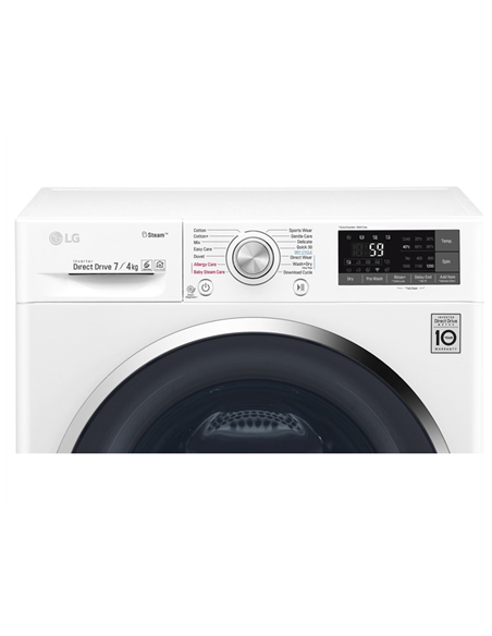 LG Washing machine with Dryer F2J7HG2W Front loading, Washing capacity 7 kg, Drying capacity 4 kg, 1200 RPM, Direct drive, B, De